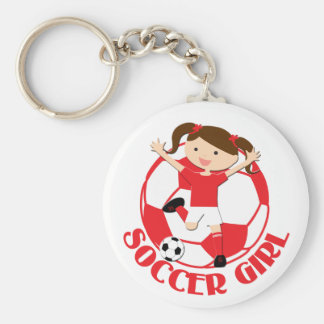 Soccer Girl 1 and Ball Red and White v2 Keychains