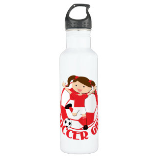 Soccer Girl 1 and Ball Red and White v2 710 Ml Water Bottle