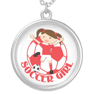 Soccer Girl 1 and Ball Red and White v2 Round Pendant Necklace