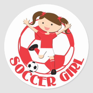 Soccer Girl 1 and Ball Red and White v2 Round Sticker