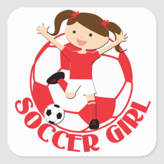 Soccer Girl 1 and Ball Red and White v2 Square Sticker