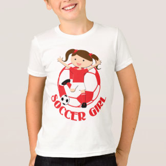 Soccer Girl 1 and Ball Red and White v2 T-Shirt