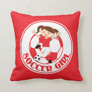 Soccer Girl 1 and Ball Red and White v2 Throw Cushions