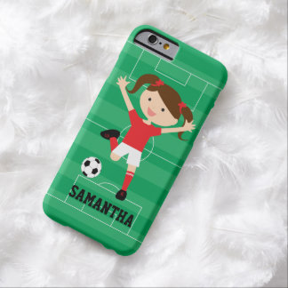 Soccer Girl 1 Red and White Barely There iPhone 6 Case