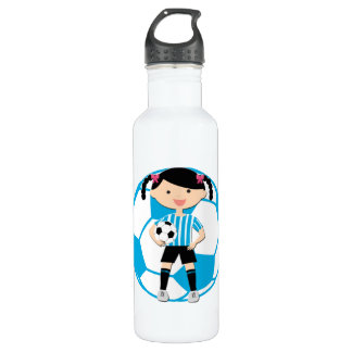 Soccer Girl 2 and Ball Blue and White Stripes 710 Ml Water Bottle