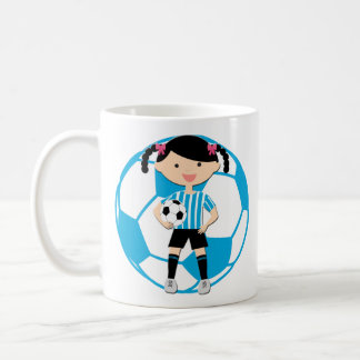 Soccer Girl 2 and Ball Blue and White Stripes Basic White Mug