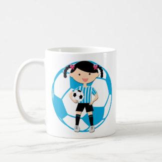 Soccer Girl 2 and Ball Blue and White Stripes Basic White Mug