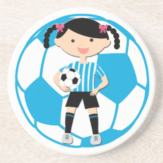 Soccer Girl 2 and Ball Blue and White Stripes Beverage Coasters