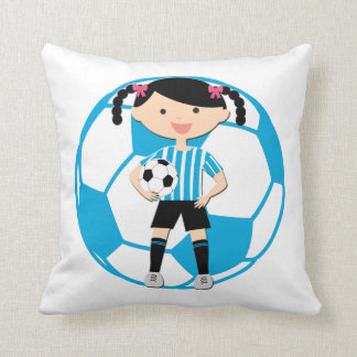 Soccer Girl 2 and Ball Blue and White Stripes Cushions