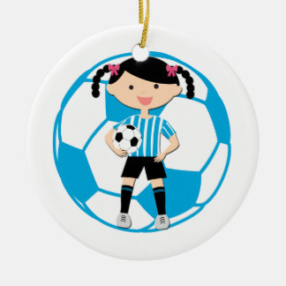 Soccer Girl 2 and Ball Blue and White Stripes Christmas Ornaments