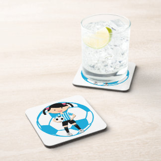 Soccer Girl 2 and Ball Blue and White Stripes Drink Coaster