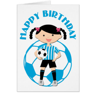 Soccer Girl 2 and Ball Blue and White Stripes Greeting Card