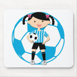 Soccer Girl 2 and Ball Blue and White Stripes Mouse Pad