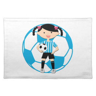 Soccer Girl 2 and Ball Blue and White Stripes Place Mats