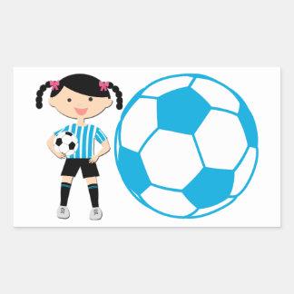 Soccer Girl 2 and Ball Blue and White Stripes Rectangular Sticker