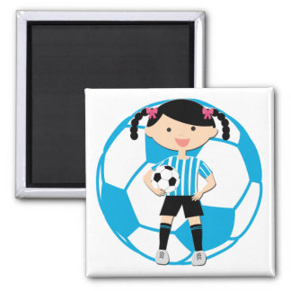 Soccer Girl 2 and Ball Blue and White Stripes Square Magnet