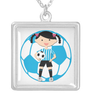Soccer Girl 2 and Ball Blue and White Stripes Square Pendant Necklace