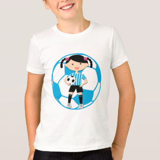Soccer Girl 2 and Ball Blue and White Stripes T-Shirt