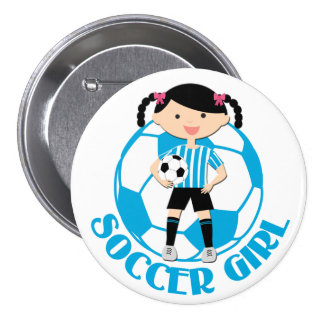 Soccer Girl 2 Ball Blue and White Stripes v2 7.5 Cm Round Badge
