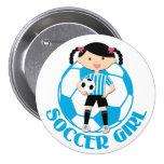 Soccer Girl 2 Ball Blue and White Stripes v2 Button