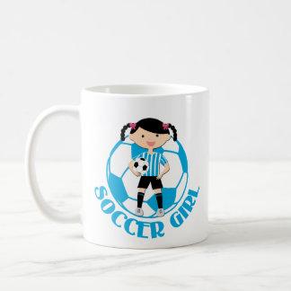 Soccer Girl 2 Ball Blue and White Stripes v2 Basic White Mug