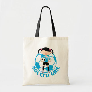 Soccer Girl 2 Ball Blue and White Stripes v2 Budget Tote Bag