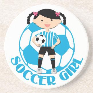 Soccer Girl 2 Ball Blue and White Stripes v2 Coasters