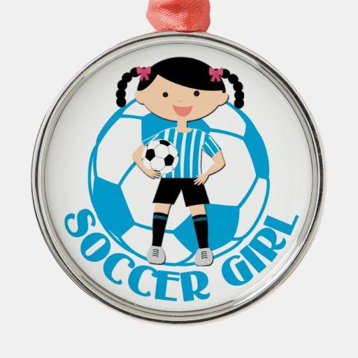 Soccer Girl 2 Ball Blue and White Stripes v2 Ornament