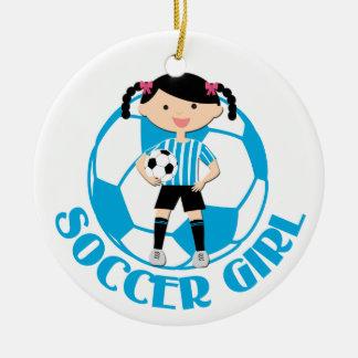 Soccer Girl 2 Ball Blue and White Stripes v2 Round Ceramic Decoration