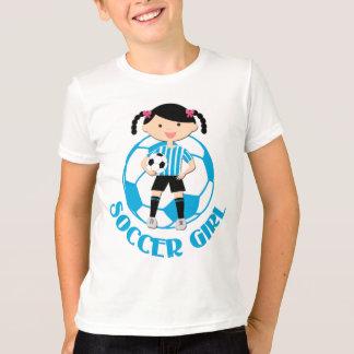 Soccer Girl 2 Ball Blue and White Stripes v2 T-Shirt