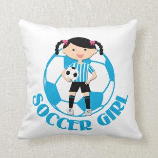 Soccer Girl 2 Ball Blue and White Stripes v2 Throw Pillow