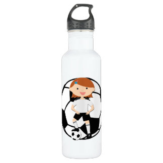 Soccer Girl 3 and Ball Black and White 710 Ml Water Bottle