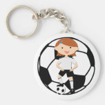 Soccer Girl 3 and Ball Black and White Basic Round Button Key Ring