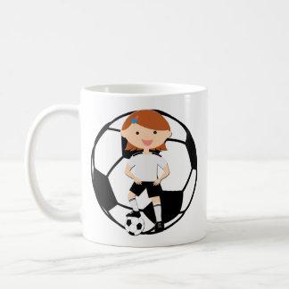 Soccer Girl 3 and Ball Black and White Basic White Mug
