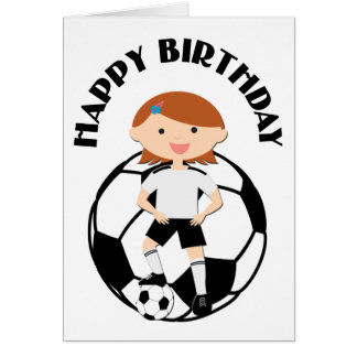 Soccer Girl 3 and Ball Black and White Card