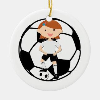 Soccer Girl 3 and Ball Black and White Christmas Ornament