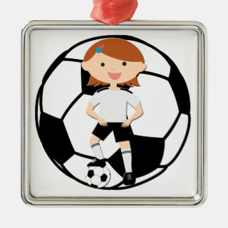 Soccer Girl 3 and Ball Black and White Square Metal Christmas Ornament