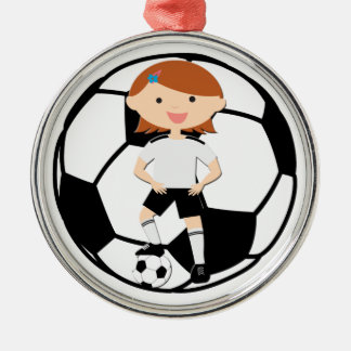 Soccer Girl 3 and Ball Black and White Christmas Ornaments