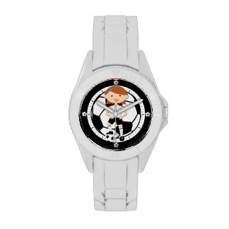 Soccer Girl 3 and Ball Black and White Wristwatch