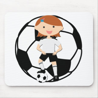 Soccer Girl 3 and Ball Black and White Mouse Pad