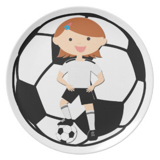 Soccer Girl 3 and Ball Black and White Party Plates
