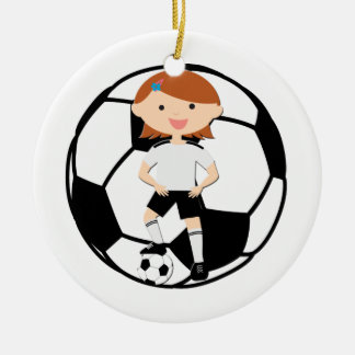 Soccer Girl 3 and Ball Black and White Round Ceramic Decoration