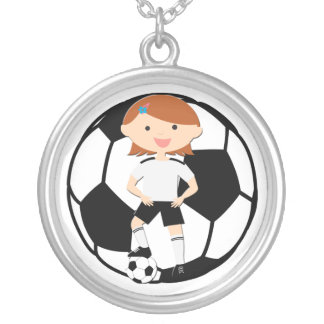 Soccer Girl 3 and Ball Black and White Round Pendant Necklace
