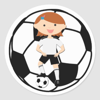 Soccer Girl 3 and Ball Black and White Round Sticker