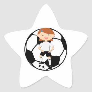 Soccer Girl 3 and Ball Black and White Star Stickers