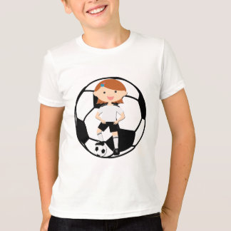 Soccer Girl 3 and Ball Black and White T-Shirt