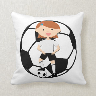 Soccer Girl 3 and Ball Black and White Throw Pillow
