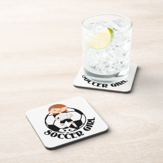 Soccer Girl 3 and Ball Black and White v2 Beverage Coasters