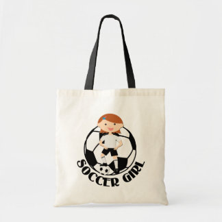 Soccer Girl 3 and Ball Black and White v2 Budget Tote Bag