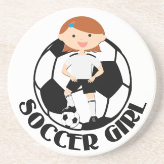 Soccer Girl 3 and Ball Black and White v2 Drink Coaster